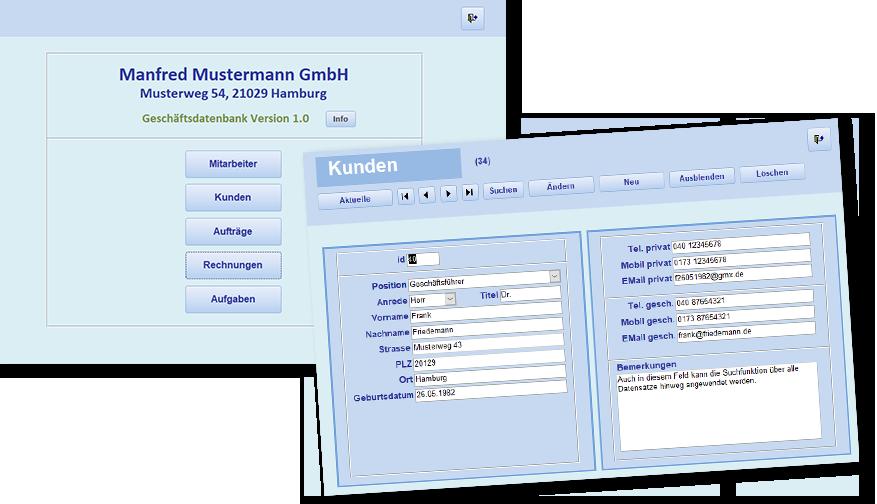 Datenbankentwicklung Schiemann / Screenshots